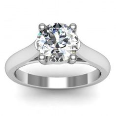 Petite Solitaire Engagement Ring set in 18k White Gold  In stockSKU: C1011-18W