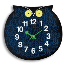 Vitra Omar the Owl Zoo Clock: The zoo timers (1965) by George Nelson – wall clocks in the form of colourfully rendered personalities from the animal kingdom.