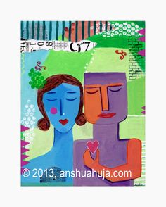 Love Is Blind 40x30cm  Acrylic and collage on canvas © 2012 Anshu Ahuja