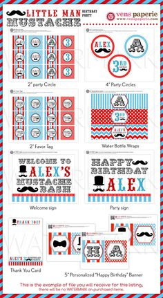 Little Man Mustache Birthday Party Package