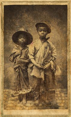 1865.New Berne, N.C., Very likely taken by Union Forces to document conditions of slaves after South was defeated. Notice the spirit in these children's eyes.....