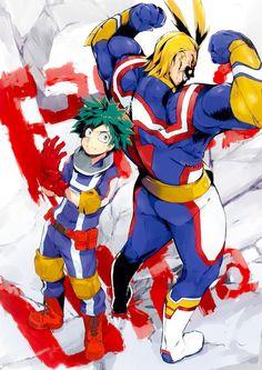 Izuku Midoriya & Toshinori Yagi (My Hero Academia) Boku No Hero Academia, My Hero Academia Memes, My Hero Academia Manga, Manga Anime, Anime Art, Manga Art, Chibi, Natsume Yuujinchou, Fanart