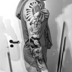 Musical Black And Grey Tattoo With Haloed Microphone Mens Sleeves