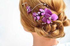 Bridal headpiece Flower hair clip First Communion headpiece