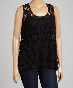 Another great find on #zulily! Black Open-Weave Crochet Tank - Plus by Allie & Rob #zulilyfinds