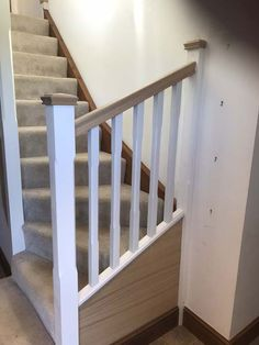 oak and white stairs - Google Search Oak Banister, Banisters, White Stairs, Google Images, Lounge, Bathroom, Google Search, Home Decor, Airport Lounge
