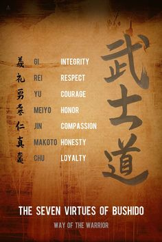 The Bushido code is a unique set of codes that allowed the Samurai to be the utmost professional warriors till this day. Warrior Spirit, Warrior Quotes, Samurai Tattoo, Samurai Art, Wisdom Quotes, True Quotes, Goju Ryu, Japanese Characters, Japanese Calligraphy