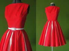 Vintage 1950s HOWARD WOLF Red Rockabilly Day Dress