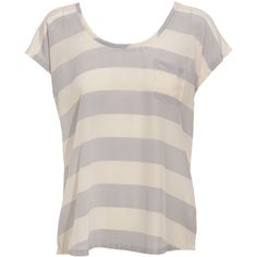 Club Monaco 'Daria' Silk Blouse ($115) ❤ liked on Polyvore featuring tops, blouses, shirts, t-shirts, blusas, women, short sleeve tops, silk blouses, short sleeve silk shirts and horizontal stripe shirt