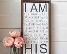 """I AM the Daughter of a King, Wall Decor, Framed Wood Sign, Girl's Room Decor, Daughter of God, I am a Child of God, 12""""x22"""""""