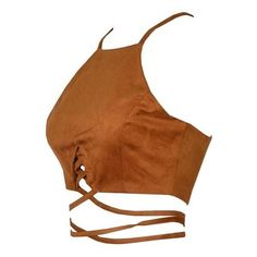 Ola Suede Cropped Top Brown ($40) ❤ liked on Polyvore featuring tops, halter top, brown top, cutout tops, cut out crop top and cut out top