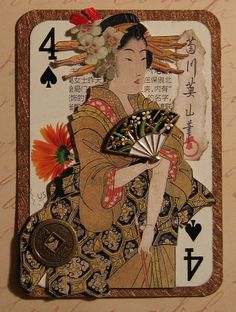 Thanks to Spiced Coffee for the beautiful real copper paper framing the playing card! Atc Cards, Card Tags, Journal Cards, Playing Card Crafts, Playing Cards Art, Art Trading Cards, Altered Tins, Dragonfly Art, Geisha