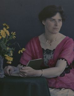 Autochrome, woman with a book| by The Public Domain Review