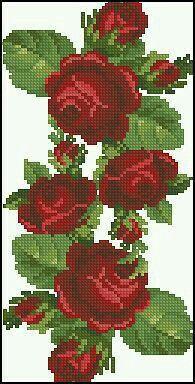 Rosa vermelha, ponto cruz |