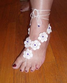 Mae Apple Blossom Barefoot Sandals White 100% Cotton with blue beading by cruize10, $35.00