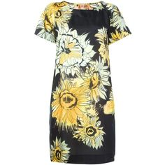 Nº21 flower print shift dress ($830) ❤ liked on Polyvore featuring dresses, black, kohl dresses, flower print dress, floral print shift dress, floral pattern dress and black flower print dress