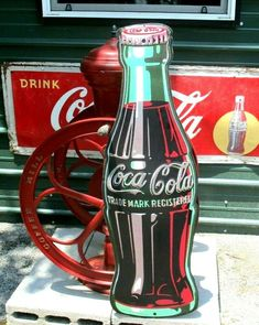 """Large ! Vintage Embossed 1995 Giant Classic Coca Cola Bottle Sign Huge 40"""" Tall  #CocaCola Vintage Signs For Sale, Outdoor Brands, Hanging Ornaments, Coca Cola, Whiskey Bottle, Classic, Ebay, Coke, Classical Music"""