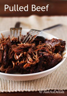 Pulled Beef. Serves 4. (Multiply by at least 8) 1 lb. Beef Tri-tip or Chuck Roast ½ teaspoon Ground Mustard ½ teaspoon Paprika ½ teaspoon Chili Powder ½ teaspoon Black Pepper 1 tablespoon Olive Oil 1 medium Onion – halved and sliced