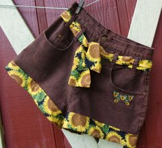 sunflower Daisy Dukes embroidered vintage high by bohemianblue