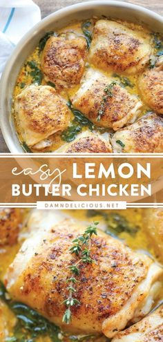 Easy Chicken Recipes, Meat Recipes, Cooking Recipes, Healthy Recipes, Healthy Chicken Thigh Recipes, Entree Recipes, Lemon Butter Chicken, Lemon Butter Sauce, Delicious Dinner Recipes