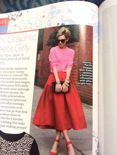Red midi skirt, pink sweater