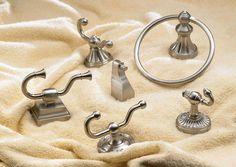 Top Knobs Edwardian Bathroom Hardware including towel hooks, robe hooks and towel rings.