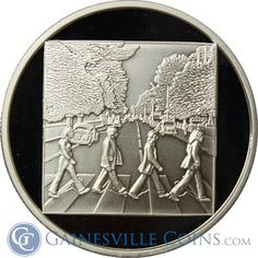 The Beatles @ Abbey Road - Probably their most famous picture ever.  http://www.gainesvillecoins.com/submenu/641/silver-art-bars-and-rounds.aspx