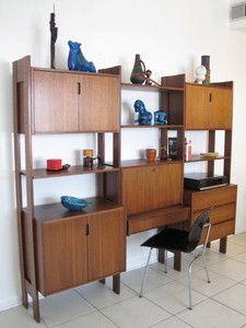 Mid Century Danish Modern Wall Unit Credenza Desk Lock Storage Shelving Teak