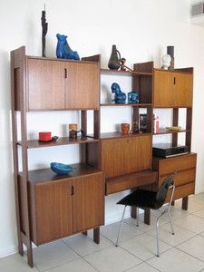 Mid Century Danish Modern Wall Unit Credenza Desk Lock Storage Shelving Teak