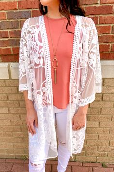 Lace Kimono Outfit, Summer Kimono, Sleeveless Cardigan, She Is Clothed, Lace Patterns, Distressed Denim, Affordable Fashion, Modest Fashion, Boutique Clothing