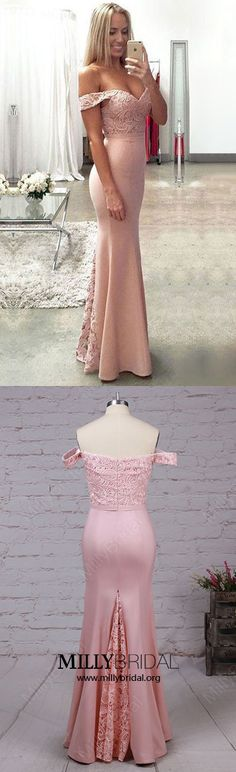 Pink Prom Dresses,Mermaid Formal Evening Dresses Long,Off-the-shoulder Wedding Party Dresses Lace,Silk-like Satin Graduation Dresses with Ruffles #pinkdresses #promdresses