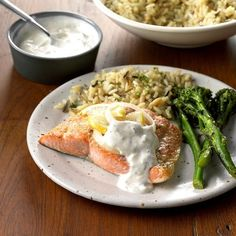 Salmon With Creamy Dill Sauce Exps Ghbz18 22391 C08 09 8b 5 Best Fish Recipes, Salmon Recipes, Healthy Recipes, Raw Recipes, Orange Recipes, Sauce Recipes, Healthy Meals, Favorite Recipes, Steak
