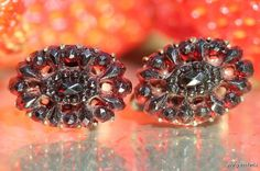Vintage Molded Red Glass Faux Garnet Screw Back Earrings