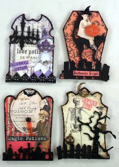 Trash to Treasure Art: Halloween ATC Artist Trading Card Tombstone Swap Retro Halloween, Photo Halloween, Halloween Shadow Box, Halloween Tags, Holidays Halloween, Halloween Scrapbook, Halloween Paper Crafts, Halloween Decorations, Halloween Tombstones