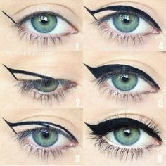 Winged eyeliner is a whole lot easier with this trick. - Caitlin Walker - - Winged eyeliner is a whole lot easier with this trick. Winged eyeliner is a whole lot easier with this trick. Makeup Goals, Love Makeup, Makeup Inspo, Makeup Inspiration, Makeup For Blue Eyes, Pin Up Makeup, Amazing Makeup, Perfect Makeup, Makeup Ideas