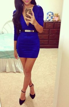 """Rolling In The Deep V""  #shopdialychic Royal blue bodyco mini dress. Black high heel  shoes and gold black waist belt"
