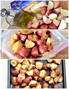 3 Ingredients Roasted Onion Potatoes: * 1 envelope onion soup mix such as Lipton's brand (click here for a homemade Onion Soup recipe) * 1/2 cup olive oil * 2 lbs. all-purpose potatoes, cut into quarters ( I use red potatoes)