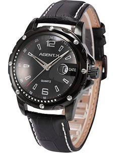 Agent X Herren Armbanduhr Quarzuhr Schwarze Armband aus Leder Datumanzeige AGX007 - http://uhr.haus/agent-x/ampm24-herren-armbanduhr-quarzuhr-schwarze-aus-2