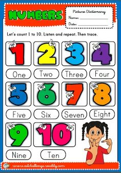 numbers - picture dictionary English Teaching Resources, Learning English For Kids, English Worksheets For Kids, English Lessons For Kids, Kids English, English Activities, Learn English, Esl Resources, Classroom Rules