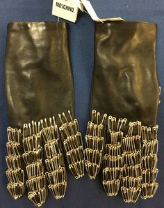 Moschino Cheap Chic Black Leather Fashion Gloves Silk Lined Size 7 Italy | eBay