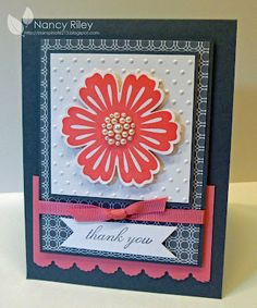 handmade card ... focal point = red flower from Mixed Bunches ...  like the pearls in the center and how they are echoed by the large bumps from the embossing folder ...  lovely card ... Stampin' Up!