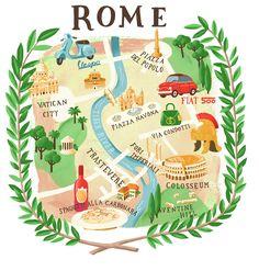 Leading Illustration & Publishing Agency based in London, New York & Marbella. Italy Illustration, Travel Illustration, Travel Maps, Travel Posters, Rome Travel, 3 Days In Rome, Rome Map, Rome Antique, Map Projects