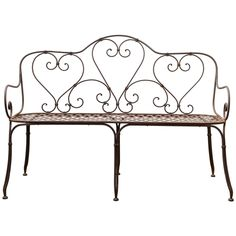 Handcrafted Garden Bench in Iron, 1860s | From a unique collection of antique and modern benches at https://www.1stdibs.com/furniture/seating/benches/