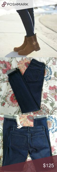 """NWT Tory Burch Legging Jeans, dark wash skinny NWT Tory Burch Legging Jeans, dark wash skinny. Purchased at the Broadmoor Tory, in Colorado Springs. Been holding on to them hoping to magically shrink to a 24 again...time to give up the ghost :( Great neutral dark wash, blogger favourite and oh so chic! Closet staple piece, and if you are like I was """"Tory EVERYTHING!"""" Especially when rocking boots and bag!!!! They're a must. Have room for your buns too vs. flattening! YES!!! Tory Burch Jeans…"""