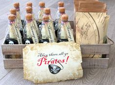Homemade Message in a Bottle Pirate Party Invites