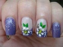Blue floral french nail art