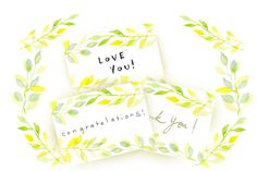 watercolor leave card by sally123 on @creativemarket
