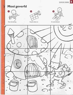 Kabouters werkbladen Dots And Boxes, Magic Squares, Picture Mix, Autumn Crafts, Worksheets For Kids, Coloring Book Pages, Autumn Theme, Drawing For Kids, Pre School