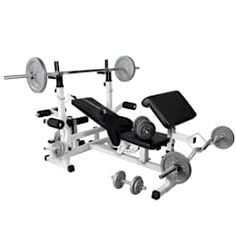 Gorilla Sports Universal Workstation with 108Kg Cast Iron Complete Weight Set: industrial Gym by Gorilla Sports