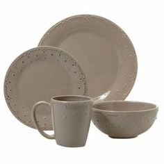 Sixteen-piece earthenware dinner set in taupe. Includes service for four. Product  sc 1 st  Pinterest & 16-piece earthenware dinnerware set with a laurel leaf motif ...